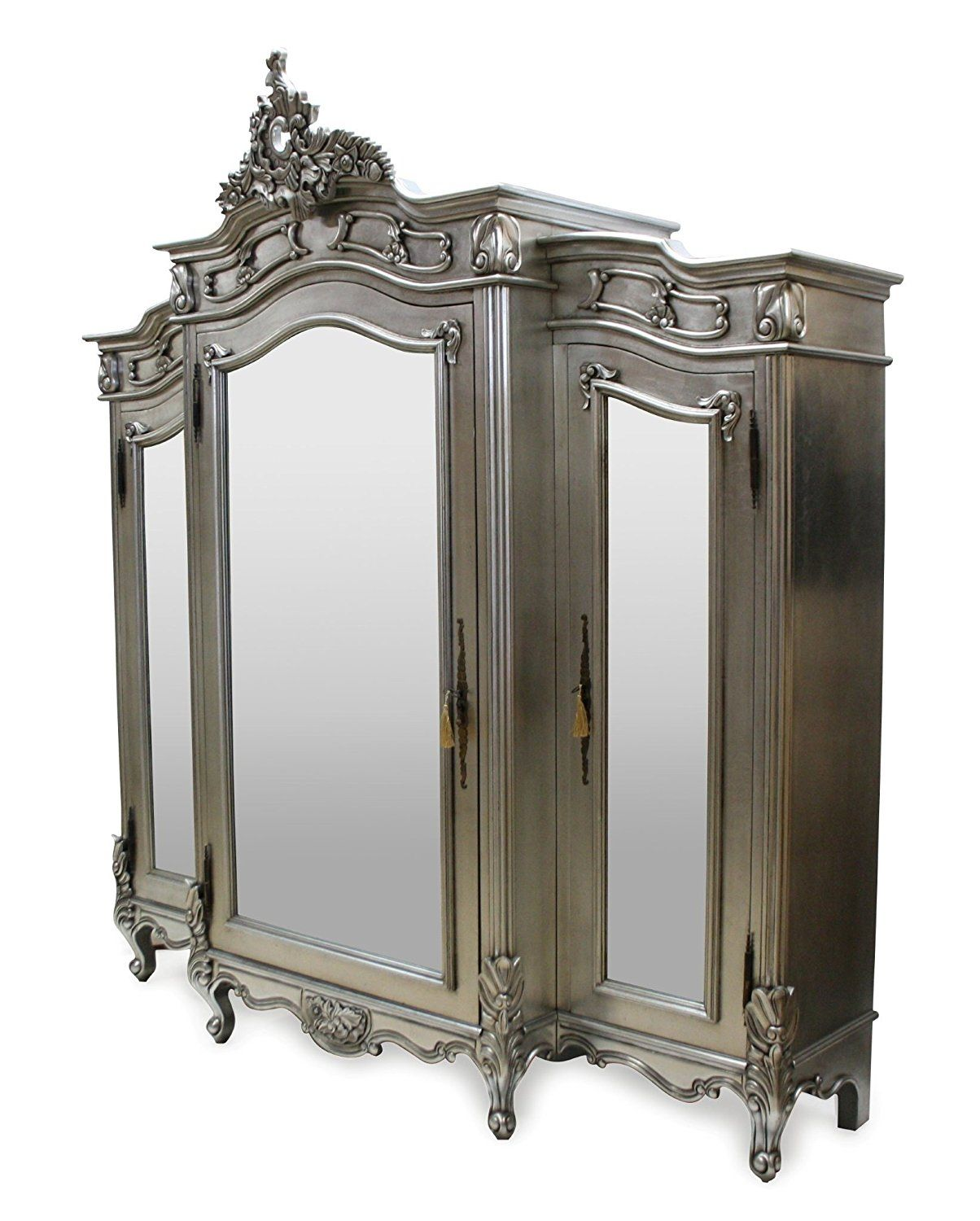 French Style Furniture 3 Door Mirrored Wardrobe Silver Amazon