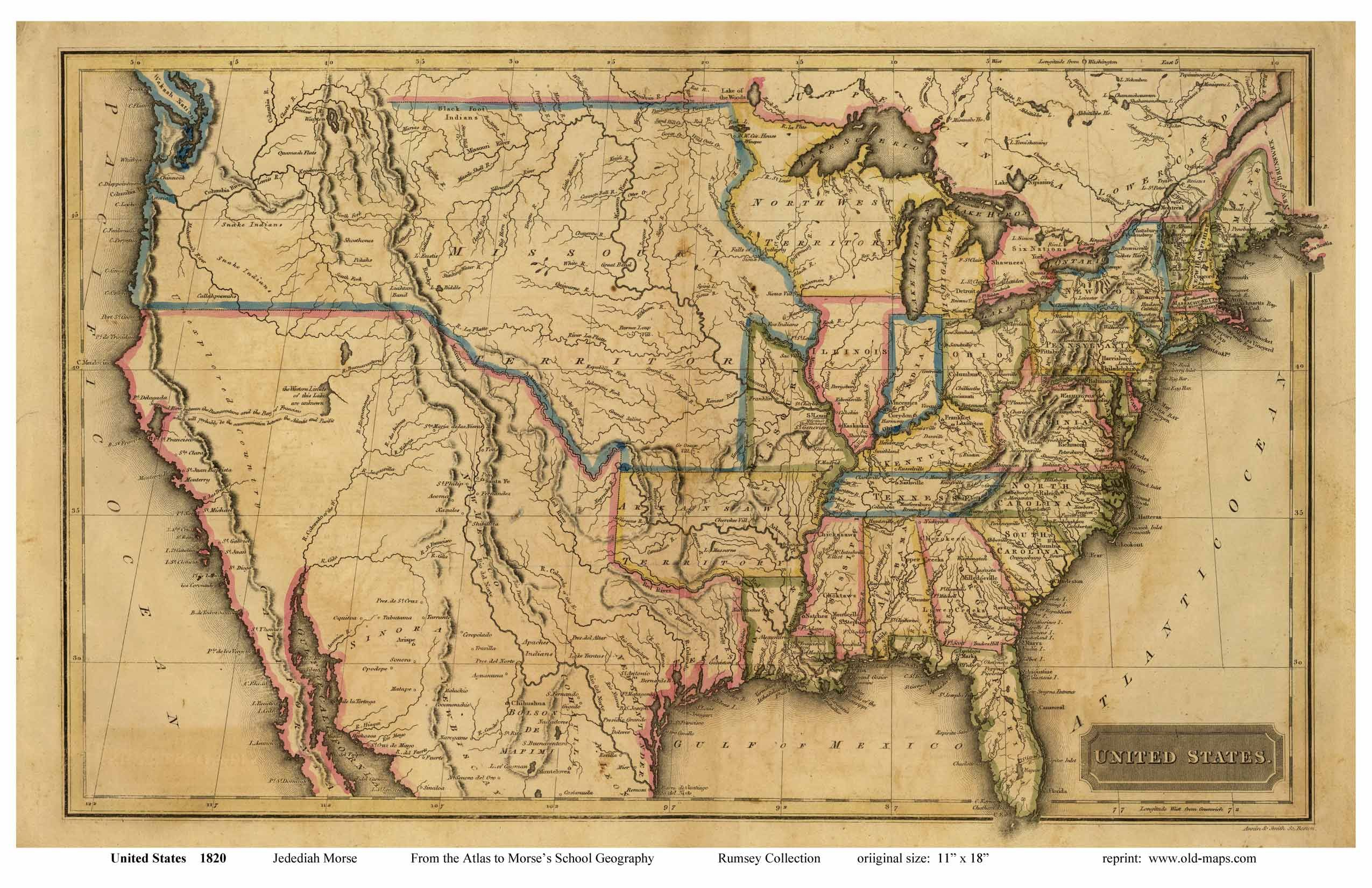Old US map from early 1800's. | Maps | Pinterest | Map globe