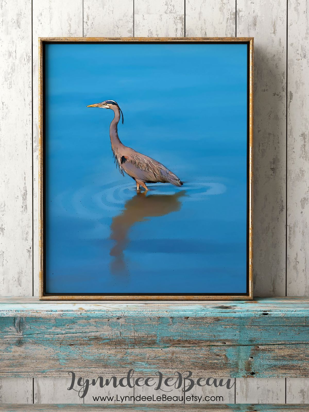 A blue heron for your beach house.