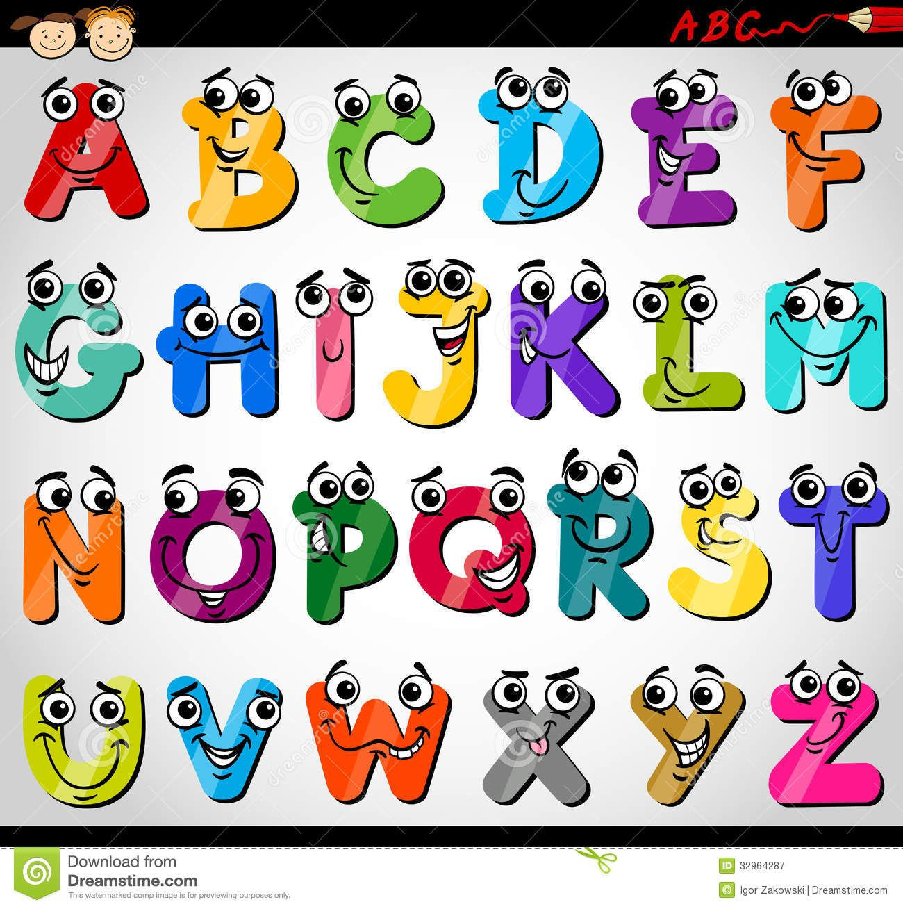 Capital Letters Alphabet Cartoon Illustration Stock Vector