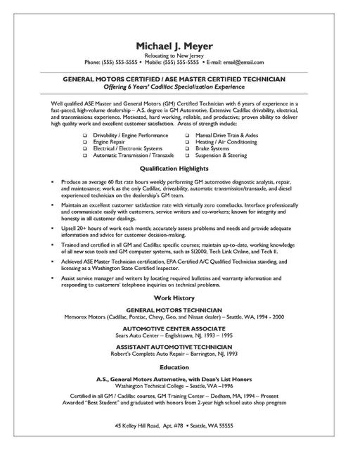 Auto Mechanic and Small Business Owner Resume | Best Resume and CV ...