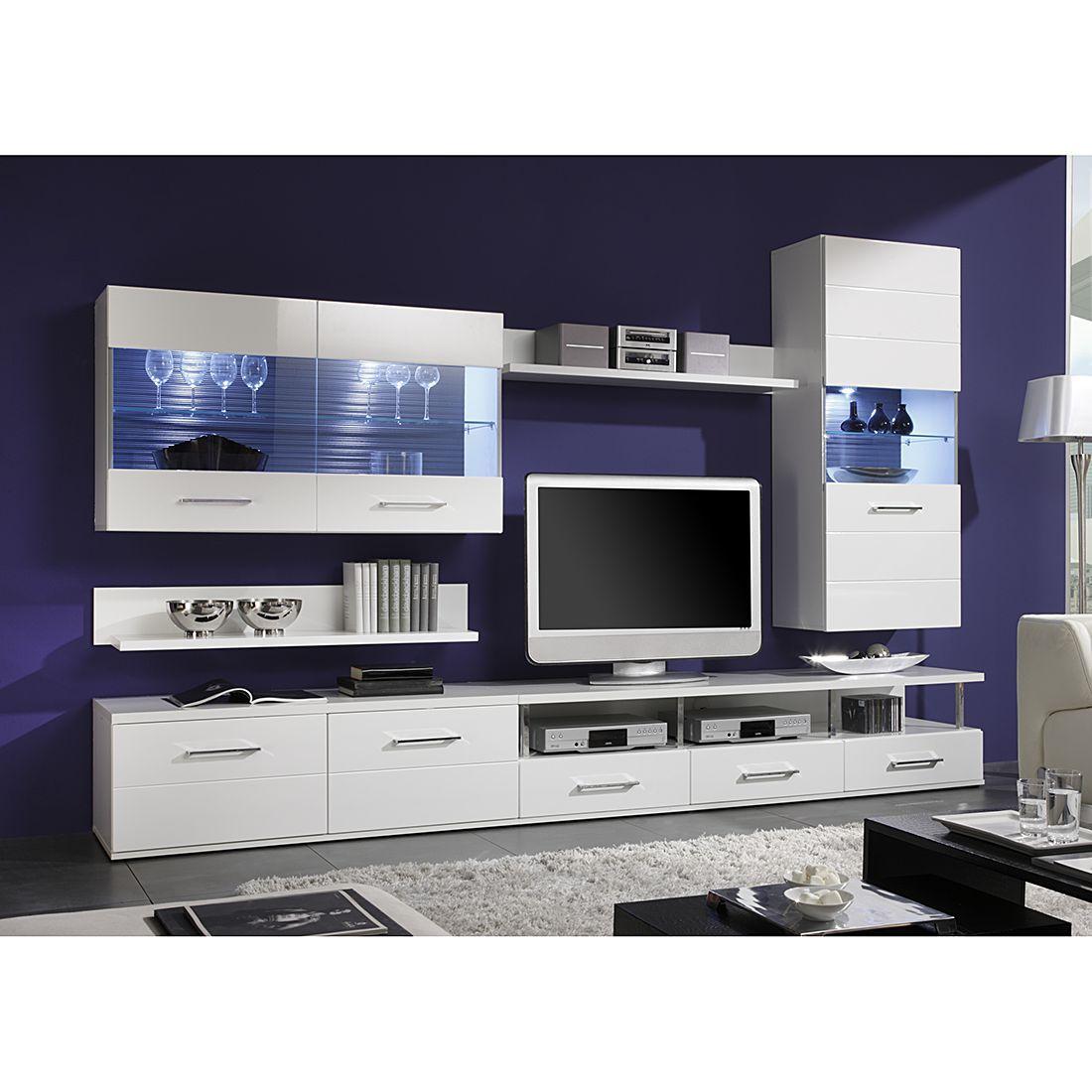 EEK A+, Wohnwand GlossyStar I (10-teilig) - Weiß / Hochglanz Weiß