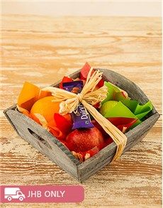 Fruit: Assortment of Fruit and Chocs in a Wooden Basket!