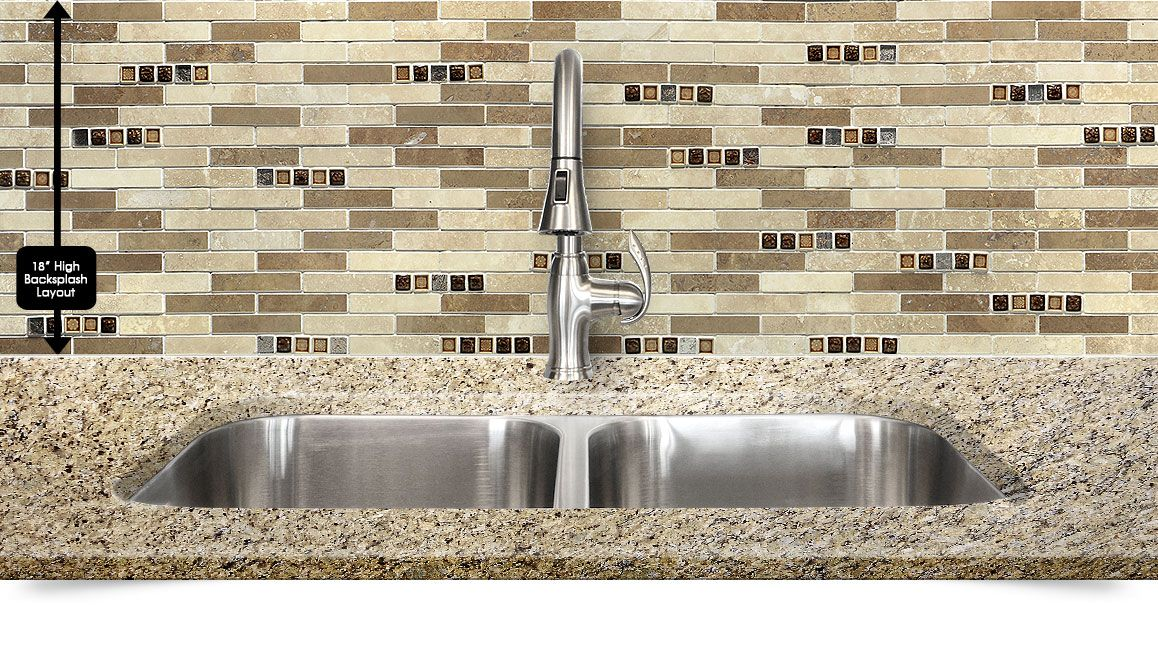 New Venetian Gold Backsplash Ideas Part - 15: Travertine Glass Mix Kitchen Backsplash Tile With New Venetian Gold Granite