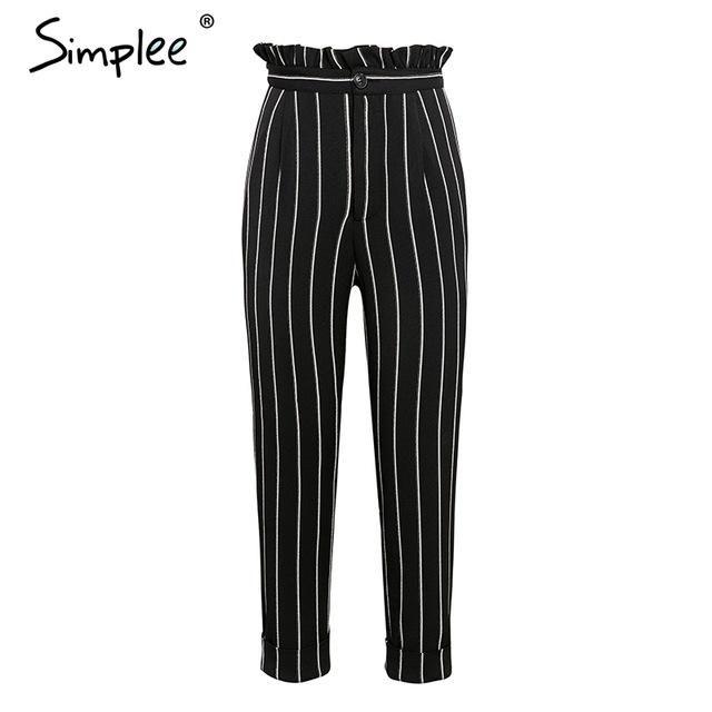 a69f9312dd1 Streetwear Striped Harem Pants Capri Ruffle Loose Casual Summer Trousers  High Waist Pants Bottom