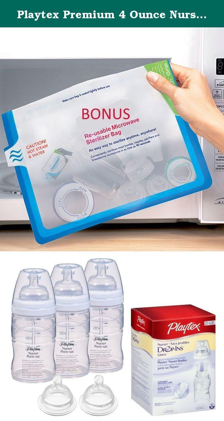 Playtex Premium 4 Ounce Nurser Bottles with Medium Flow Nipples & Drop In Liners...