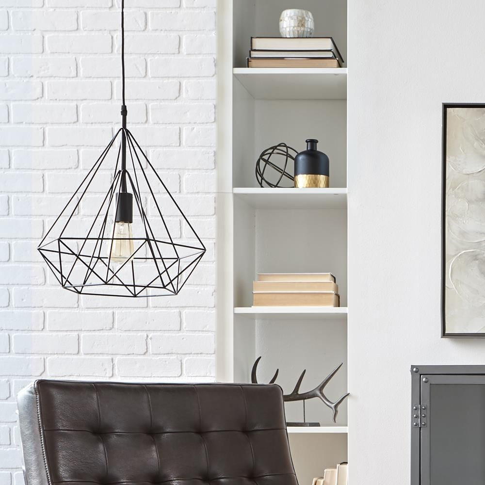 lampe suspendue en fil de fer sous forme de diamant g om trique lampes suspendues luminaires. Black Bedroom Furniture Sets. Home Design Ideas