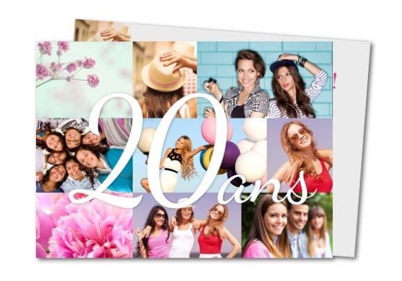 Carte d'invitation anniversaire 20 ans pêle mêle mosaïque   Carte invitation anniversaire ...