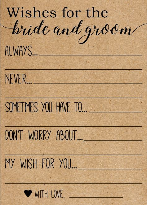 Wishes for the Bride and Groom . Advice for the Br