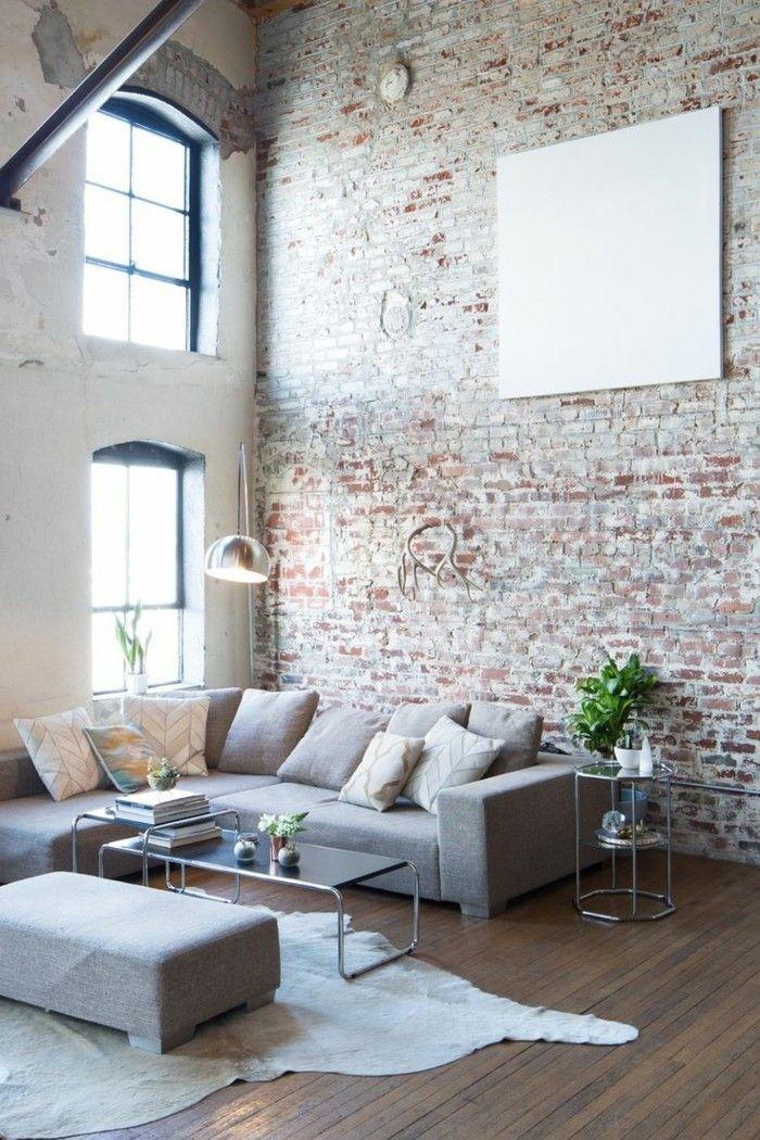 industrielampe im wohnzimmer ziegelwand und fellteppich - wohnzimmer design leuchten