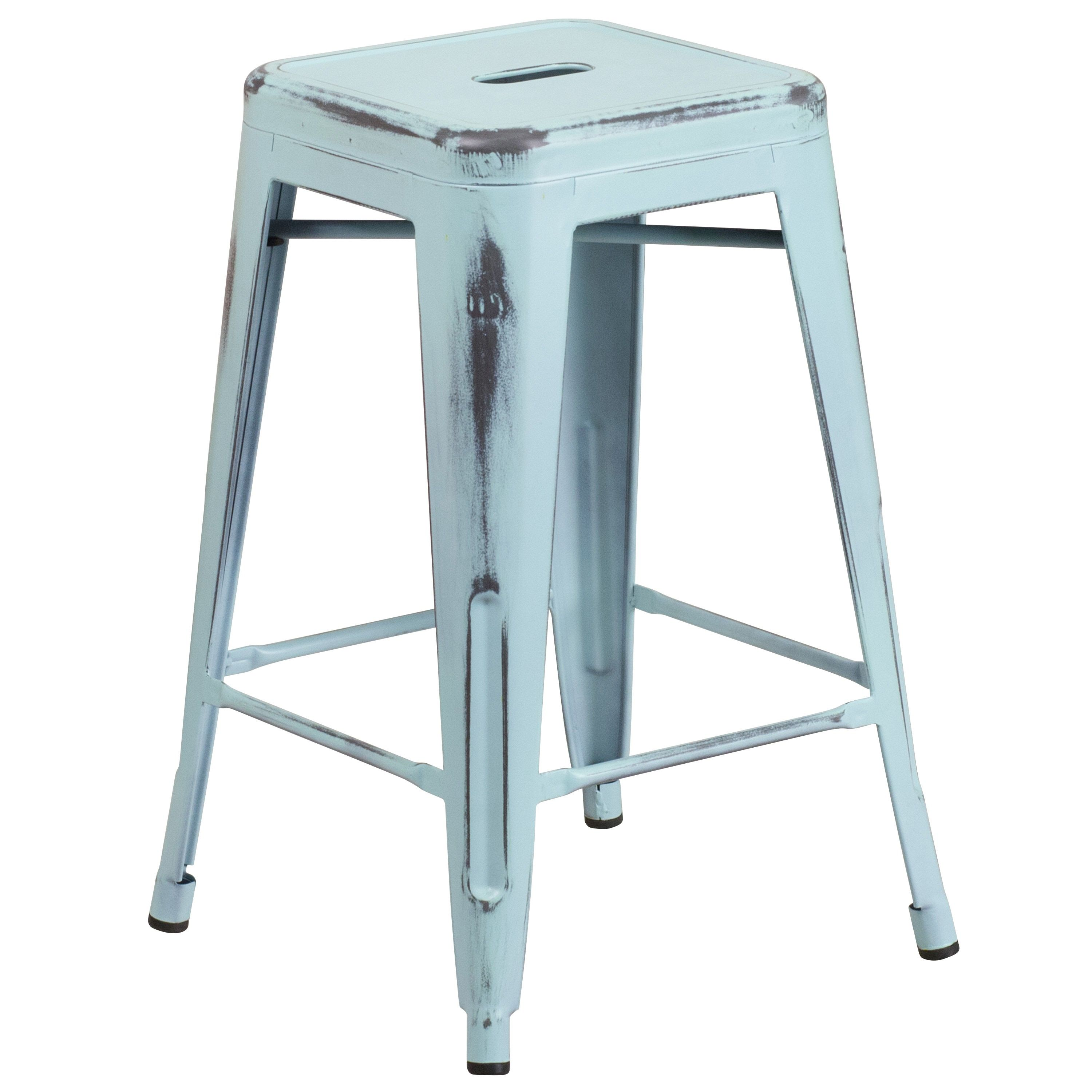24-inch High Backless Distressed Metal Indoor Counter Height Stool ...
