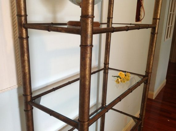 Gold Metal Faux Bamboo Etagere Over 6 Feet With 6 Glass Shelves Hollywood  Regency At Retro