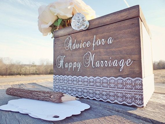 Marriage Advice Box For The Bride And Groom A Happy Rustic Wedding Card