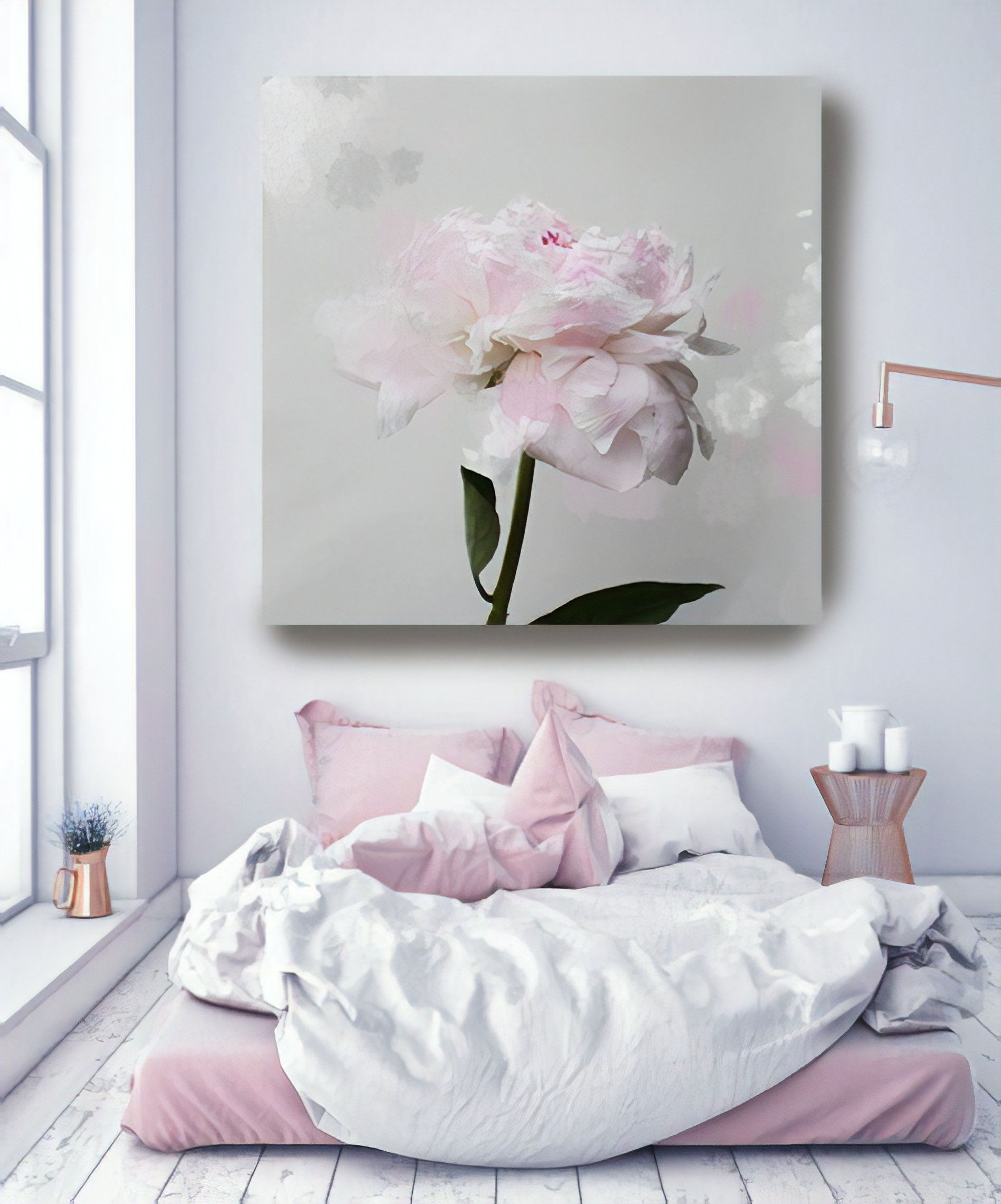 Romantic Grey Pink Peony Splash 3 Peonies Pink Pink Floral Etsy Shabby Chic Wall Art Shabby Chic Canvas Art Chic Wall Art