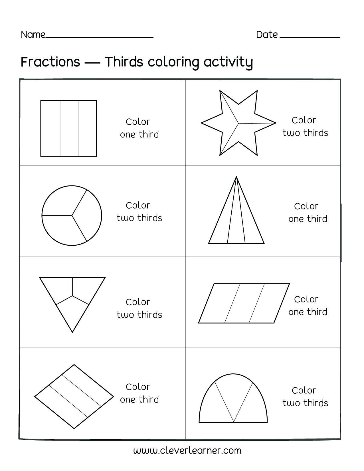 Fun Fraction Worksheets 4th Grade Fractionng Sheets Thirds