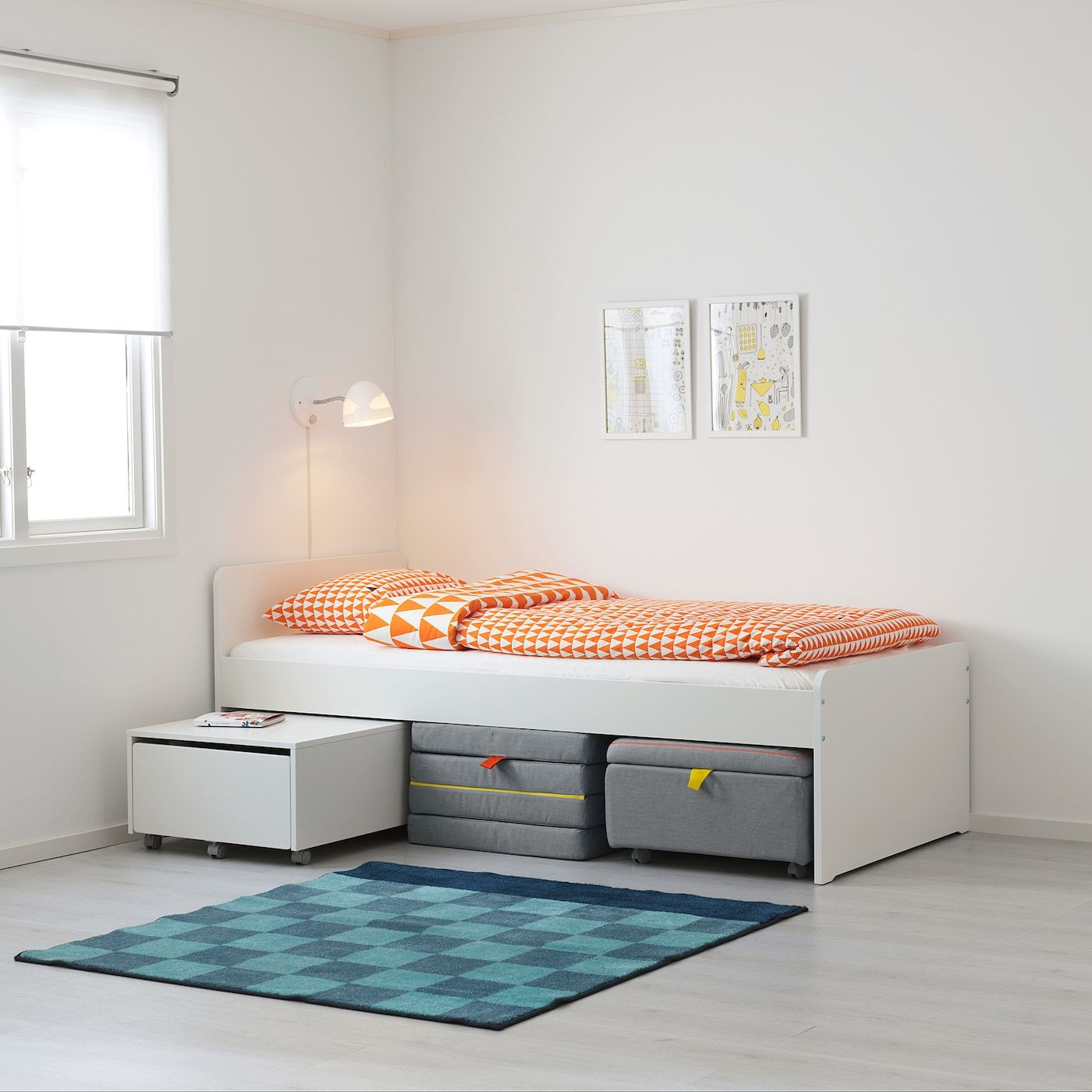 SLÄKT Bettgestell mit Federholzrahmen weiß IKEA