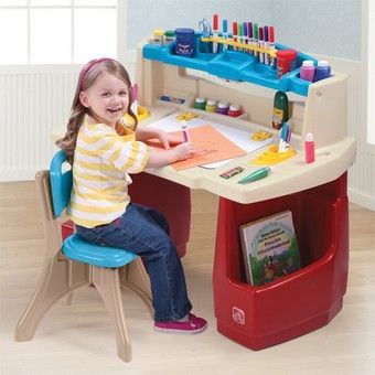 Step2 Kids Activity Play Deluxe Art Studio Master Deck Table Set with Chair