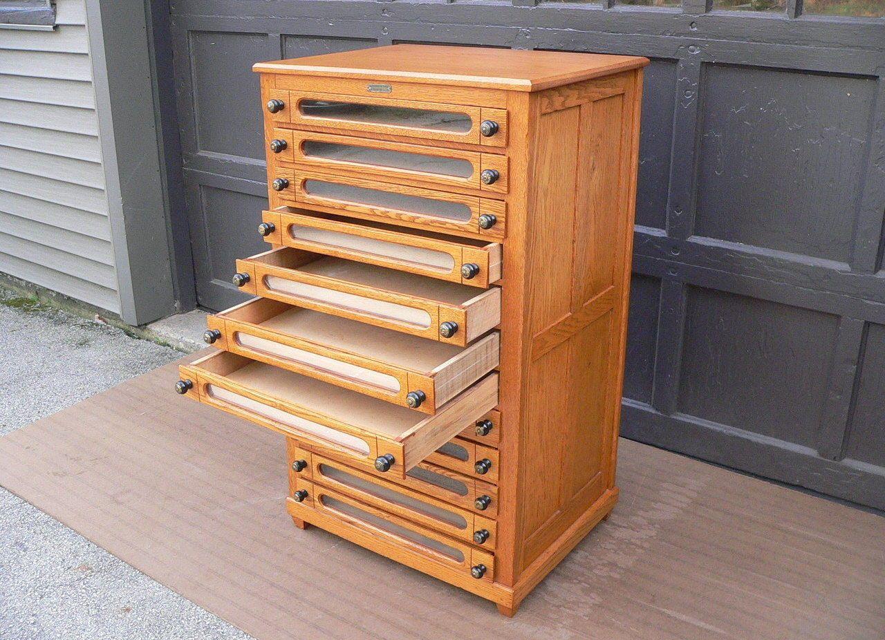 Antique Golden Oak 12 Drawer Thread Spool Chest Button File Storage Cabinet  | EBay