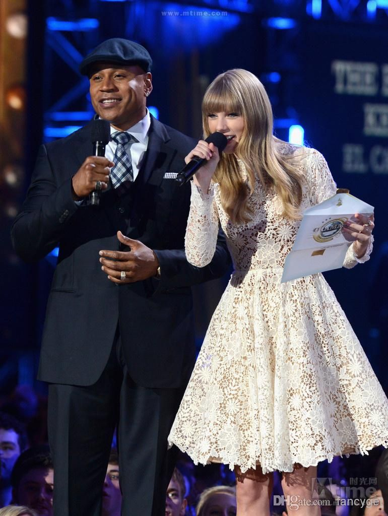 Discount Taylor Swift White Lace High Long Sleeves Long Prom Dress ...