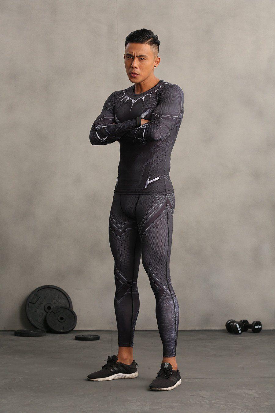 69f98ba8fee0d4 Black Panther Marvel Theme Design Men Cosplay Compression Leggings # blackpanther #leggings #gym