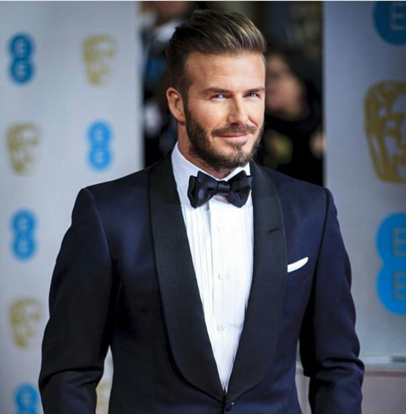 David Beckham in a Navy Tuxedo (With images) | Groom tuxedo navy ...