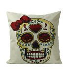 Cotton Linen Cool Skull Sofa Throw Pillow Case Car Cushion Cover Home Decor