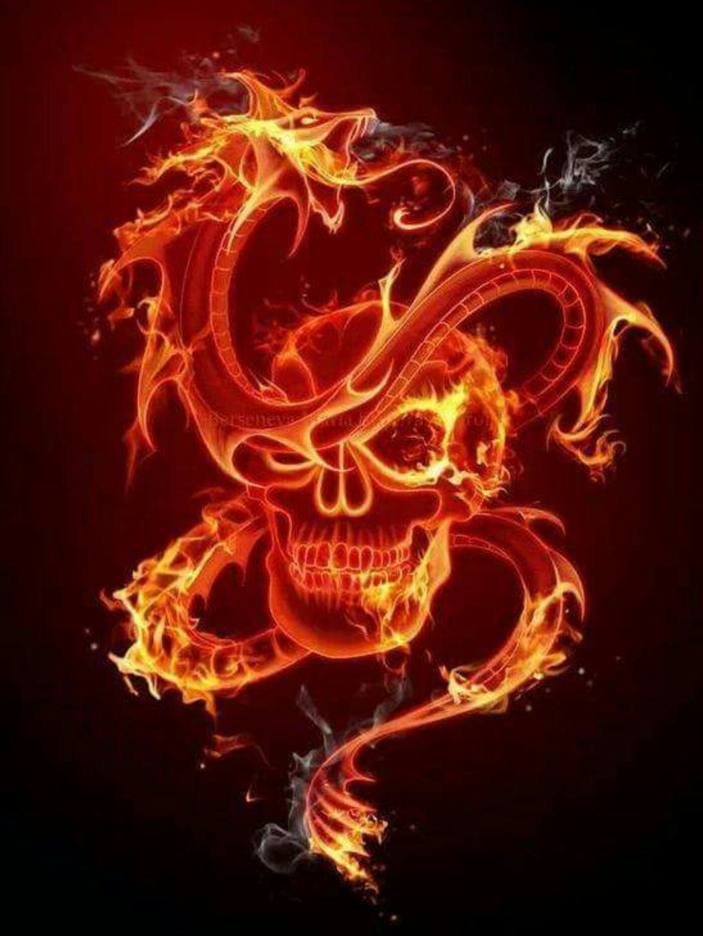 Flaming Skull & Dragon | Skull artwork, Skull wallpaper, Skull pictures