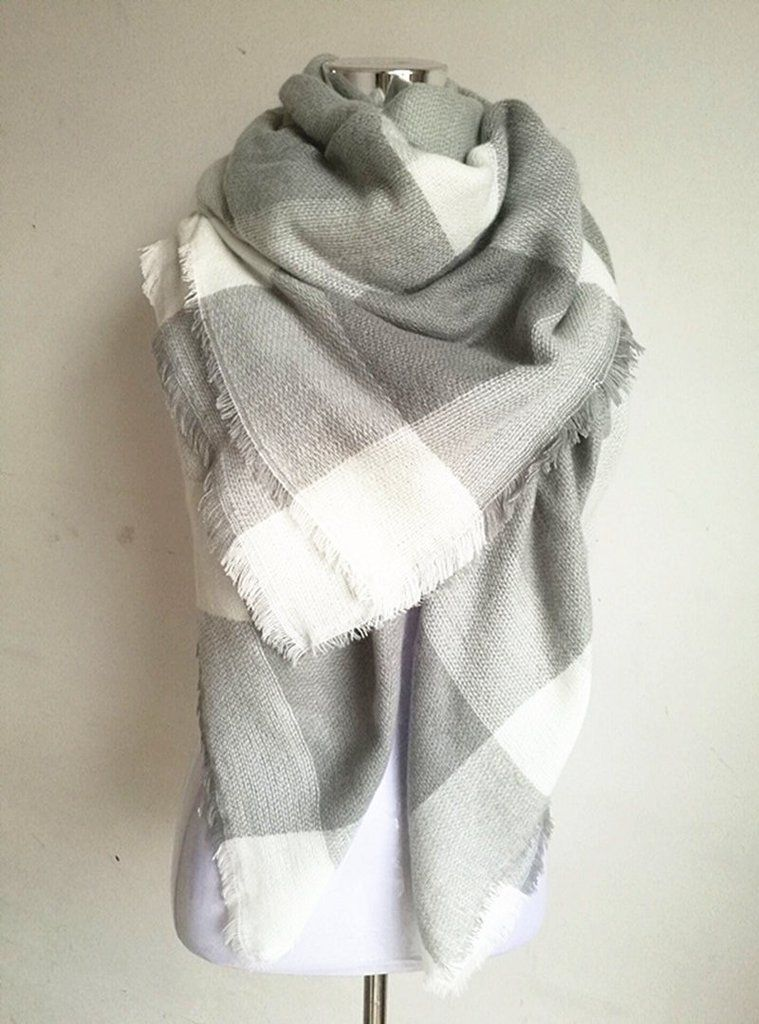 64998ef5a4e Gray and White Blanket Scarf For Fall and Winter   Scarves   Tartan ...