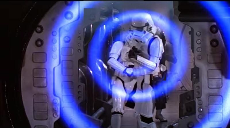 Stormtrooper firing E-11 in stun mode.