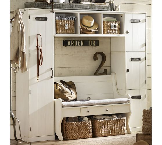 Wade Entryway Bench Large Almond White Wood Entryway Benches Pottery Barn Entryway Bench Storage Entryway Storage Home