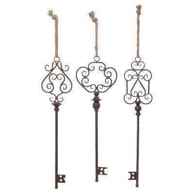 Decmode Skeleton Keys Wall Sculpture Set Of 3 20206 Key Wall Decor Old Fashioned Key