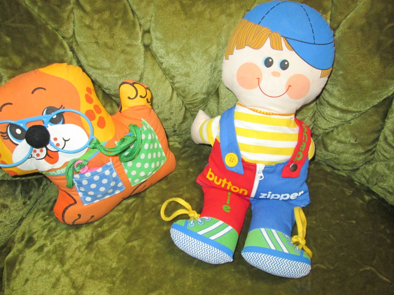 Vintage Dapper Dan 1983 Boy and Play Pup 1983 Dog, Playskool. Buttons, Zippers, and Snaps, plush stuffed animals. by FriendsRetro on Etsy