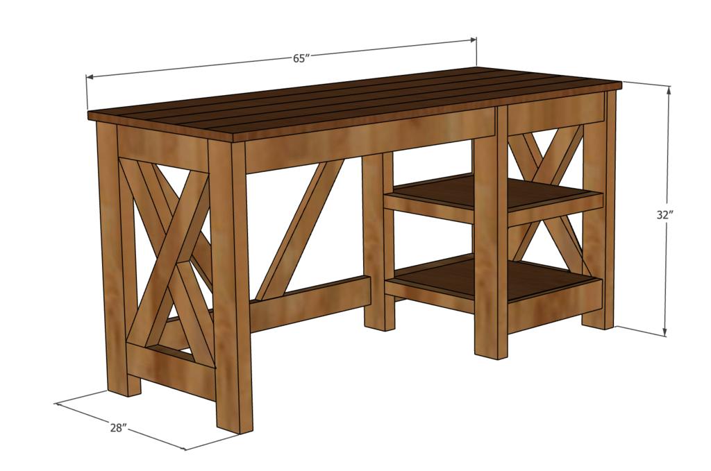 Farmhouse X Office Desk in 2020 Diy home furniture, Diy