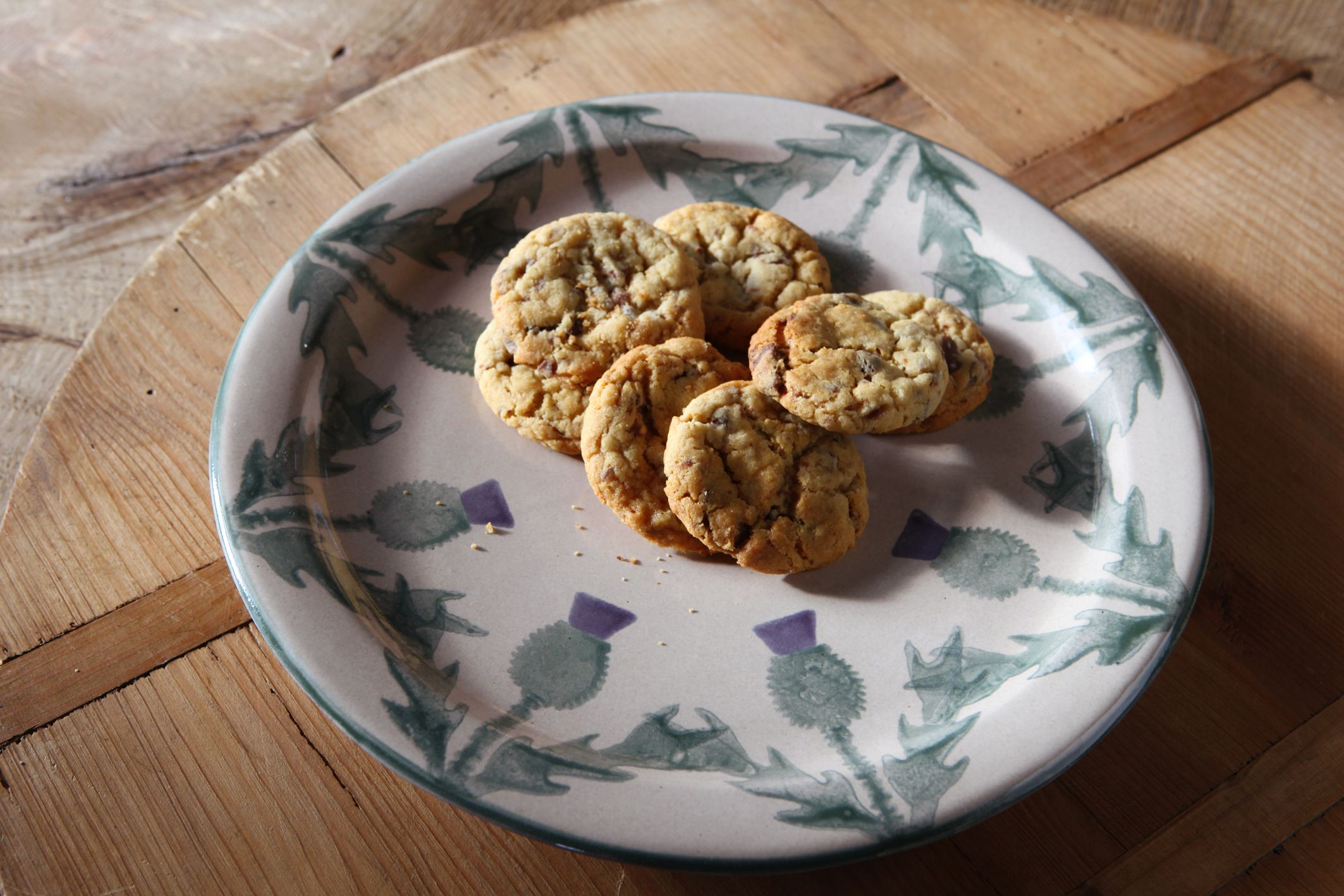 Chocolate chip cookies served on cream thistle stoneware