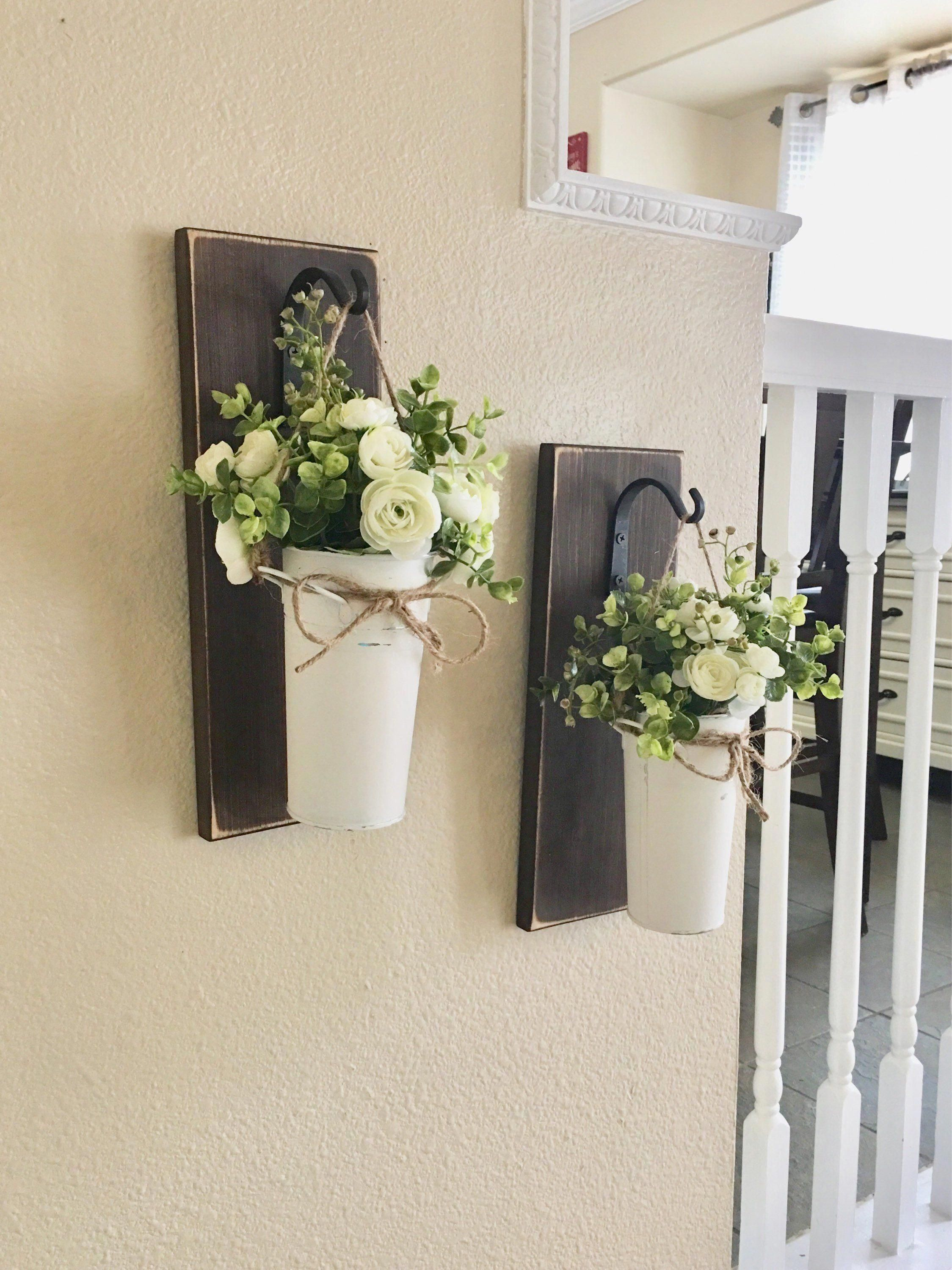 Farmhouse Living Room Decor, Hanging Planter with Greenery ... on Wall Sconces For Greenery Decoration id=31865