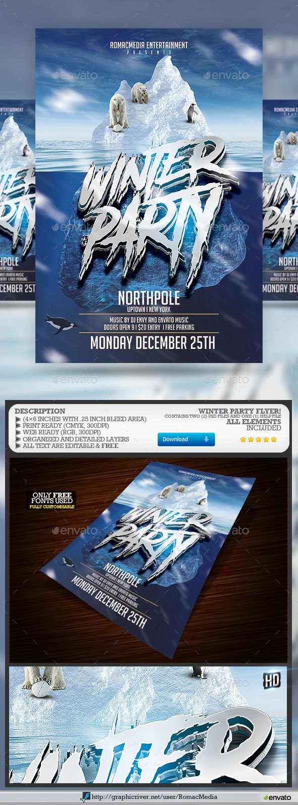 Winter Flyer  Flyer Template Party Flyer And Template