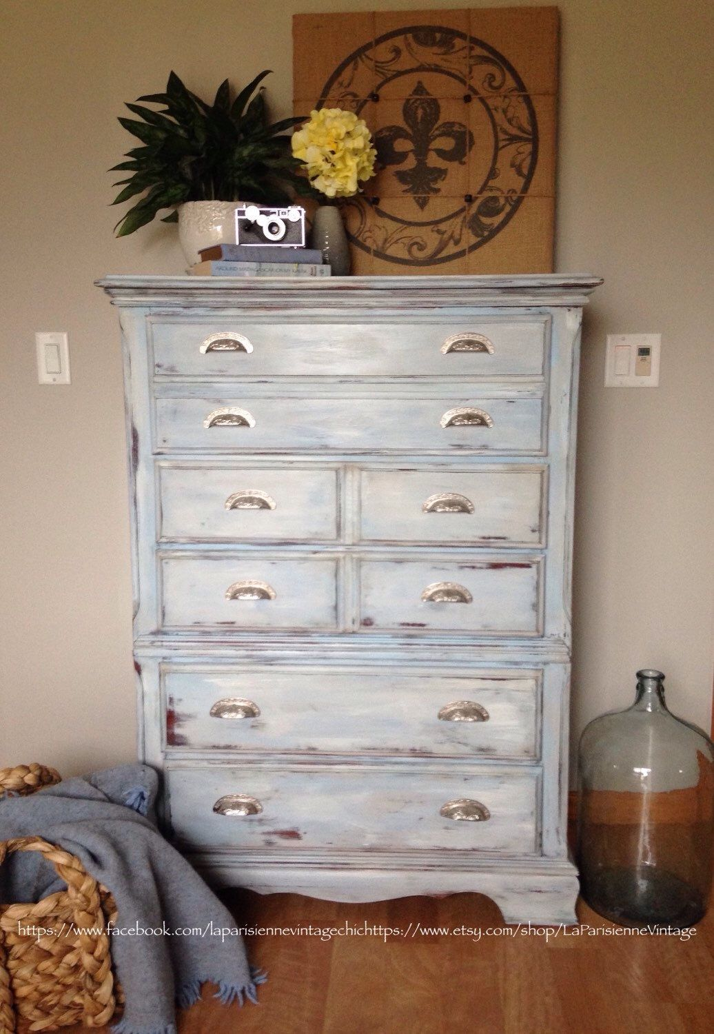Tall Dresser Painted Highboy Nautical Theme Nursery Coastal  # Muebles Costera