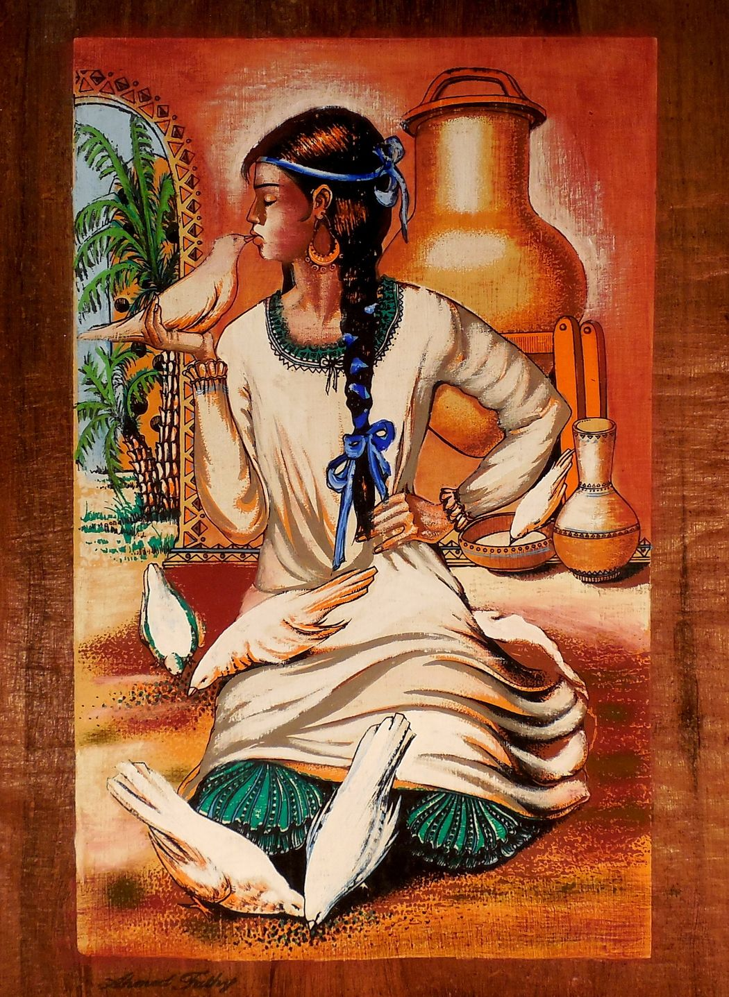 The nubian girl egyptian folklore papyrus painting for Ancient egyptian mural paintings