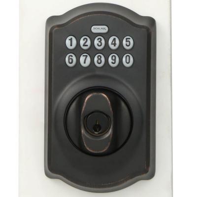 Schlage Camelot Aged Bronze Keypad Electronic Door Lock Deadbolt Be365 Cam 716 The Home Depot Schlage Keypad Deadbolt Deadbolt