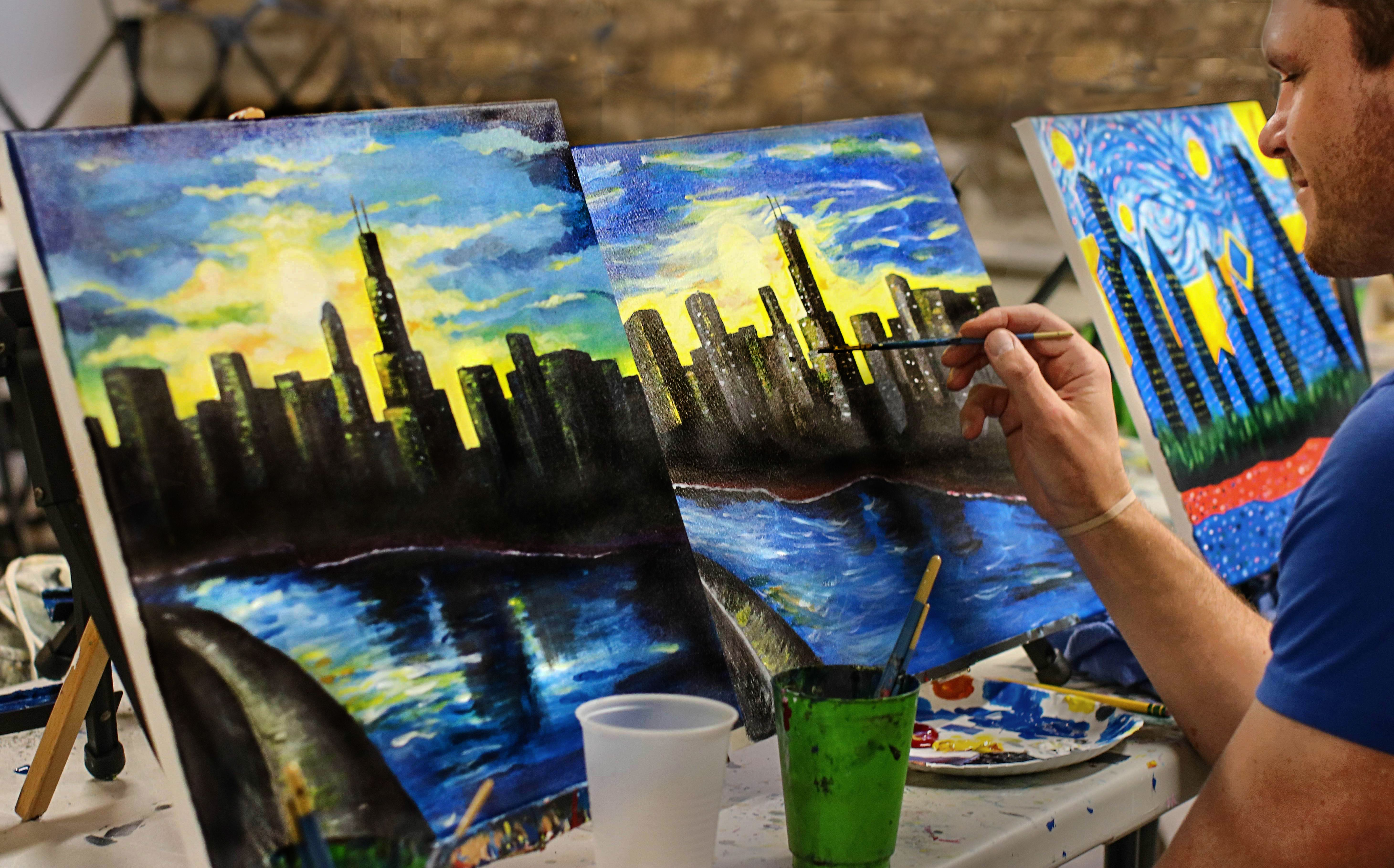 Byob Art Classes For Everyone Sip And Paint Drink Some Wine While A Professional Artist Guides You Step By Step Through Painting Wine Painting Paint Your Pet