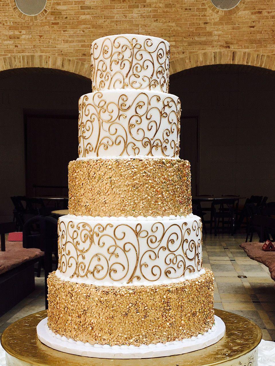 Extravagant Gold Wedding Cake WC068 Confection Perfection Atlanta - Gold Wedding Cakes