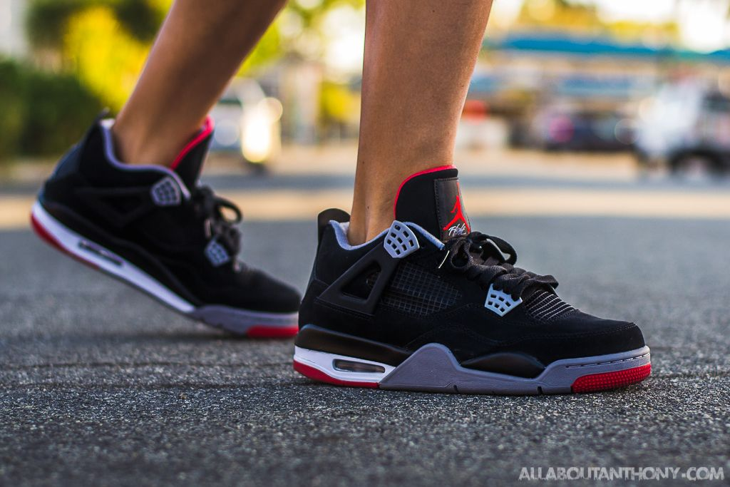 promo code e2204 ed309 air jordan 4 bred on feet