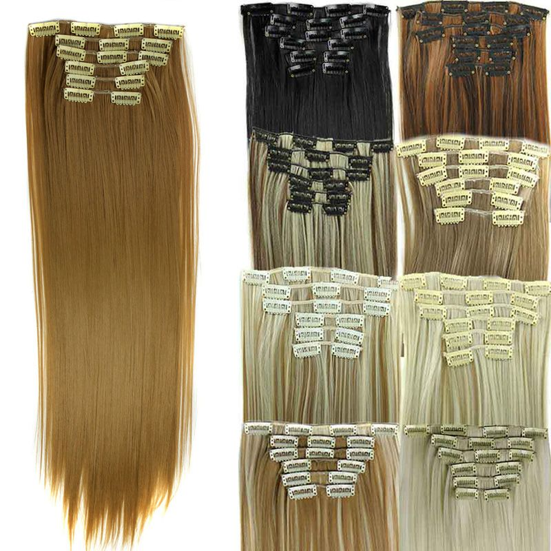 18 Colors 24inch Womens False Wig Hair Extension Long Straight Fake