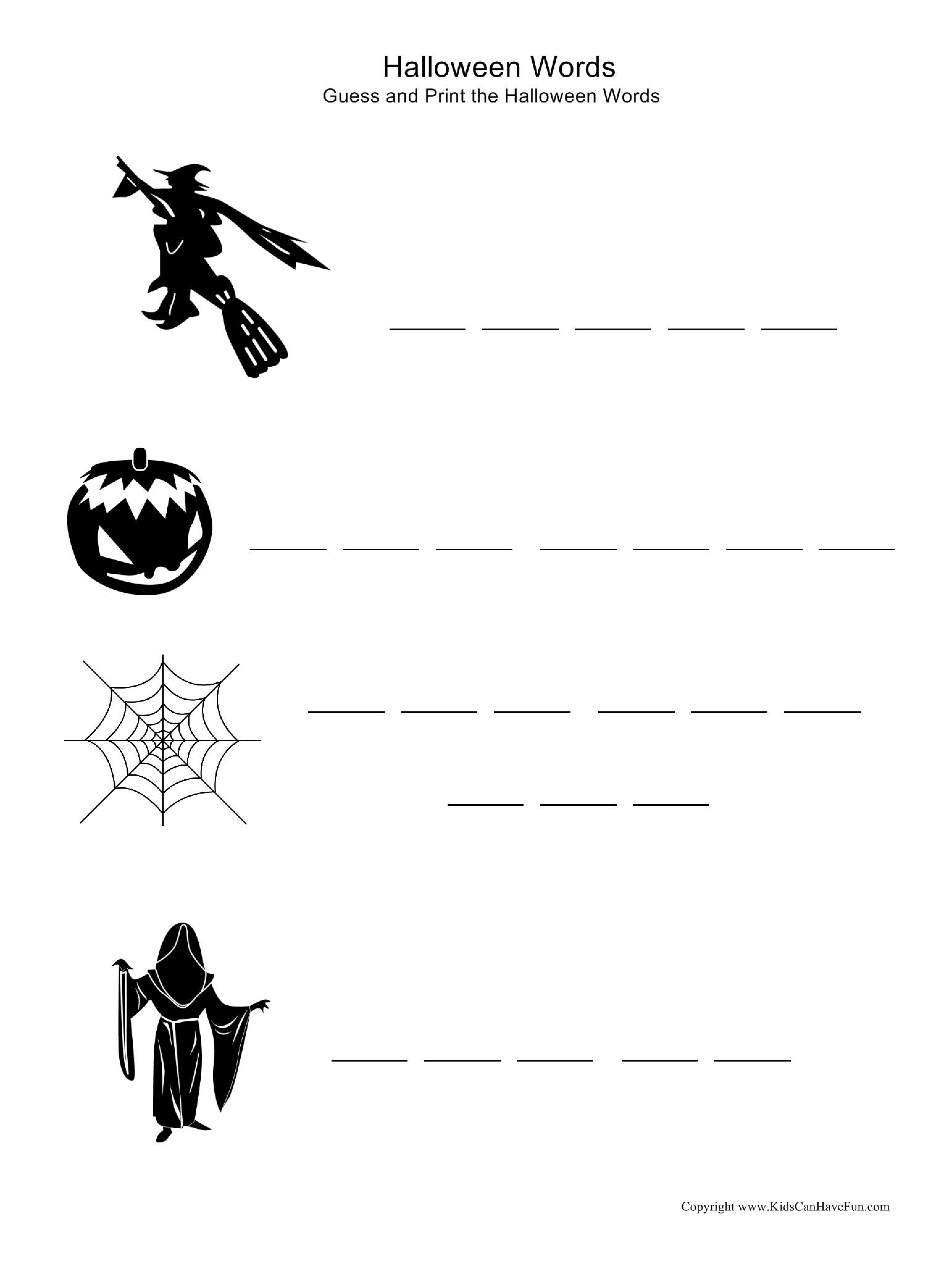 Guess And Print The Halloween Words To The Matched