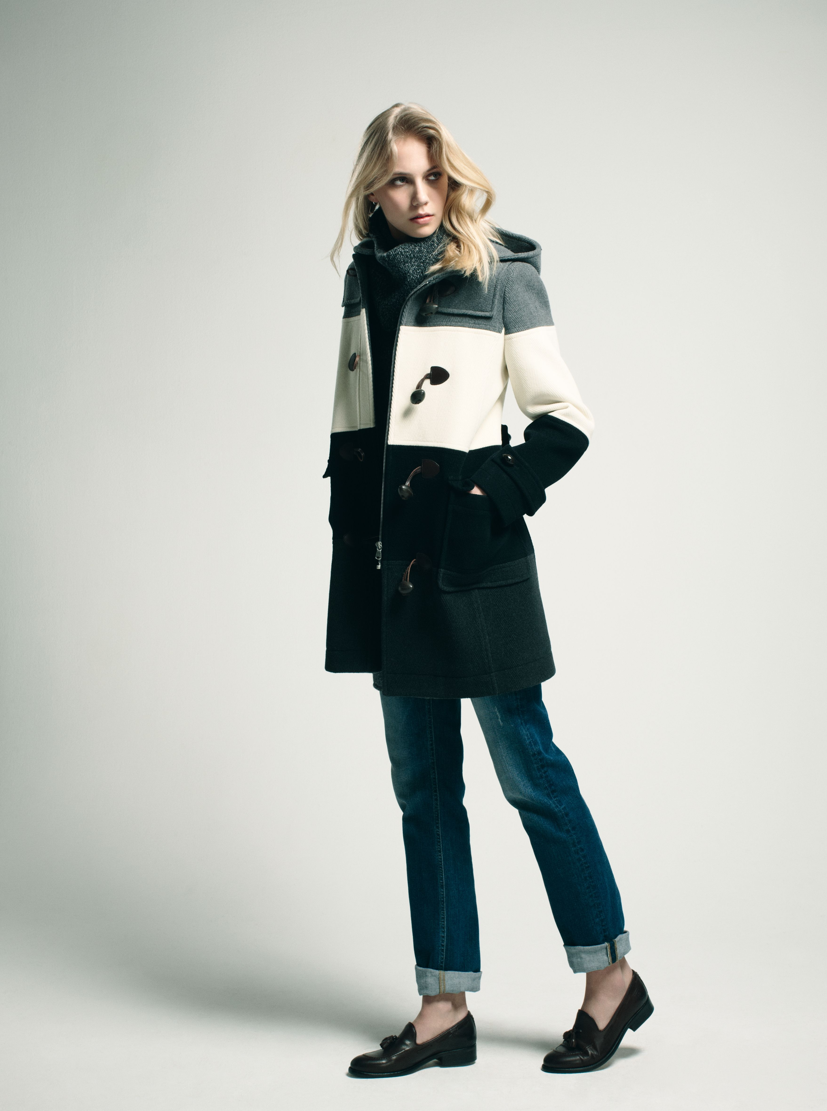 eden park look femme woman dufflecoat cercl en laine robe pull col roul chin en laine et. Black Bedroom Furniture Sets. Home Design Ideas