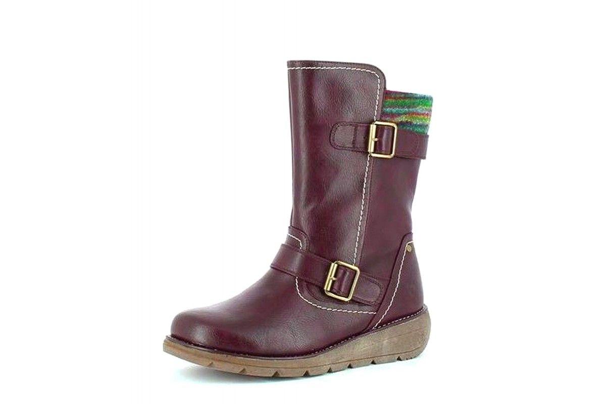d1b41bc78021 Heavenly Feet Pacific 2 Purple Burgundy Wedge Heel Comfort Boots ...