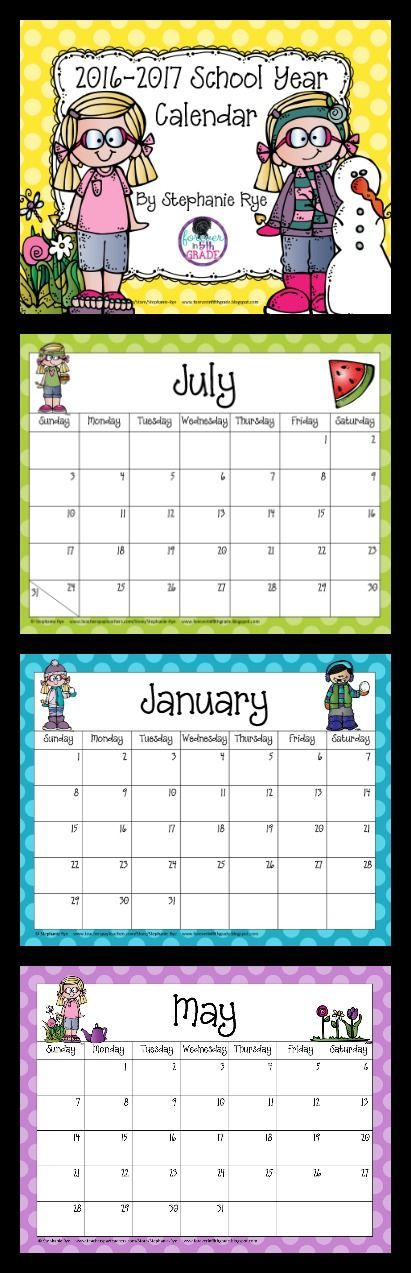 Grab this 2016-2017 school year calendar for free! Teaching