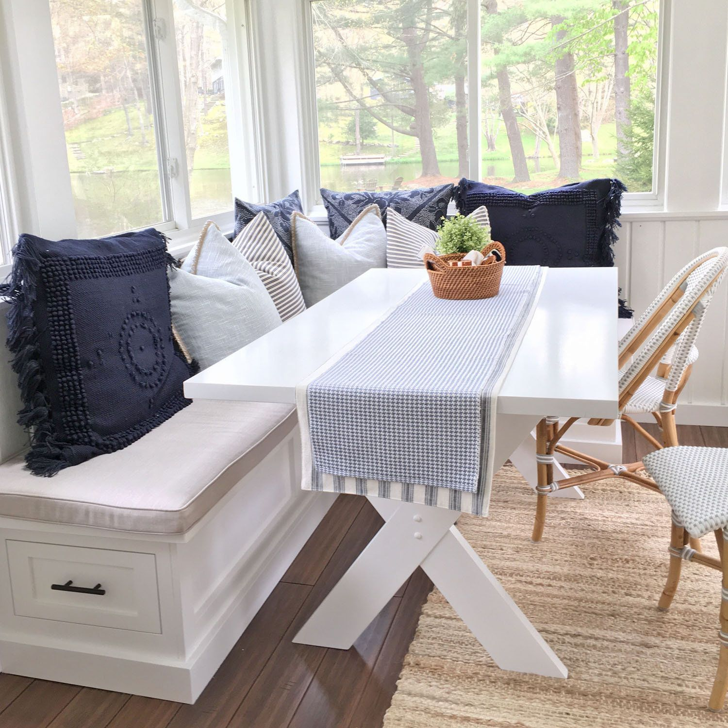 Sunbrella Custom Breakfast Nook Cushions Dining Table Window Seat Bench L Shaped Indoor Outdoor Fabric 5 Wide 4 Thick Breakfast Nook Cushions Dining Table In Kitchen Corner Dining Table