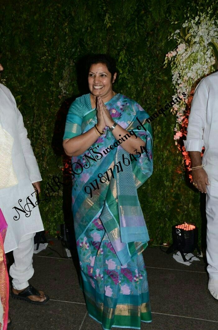 South celebrity daggubati purandeswari in pure zari Kota Doria handloom Floral designerd saree Made by NAZAR SONS'