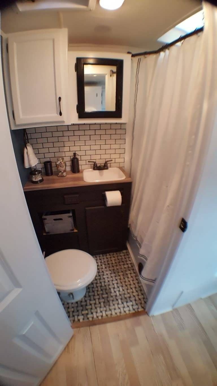 30 Best Picture Of Rv Bathroom Corner For Inspiration Camper And Travel Penitifashion Camper Bathroom Remodeled Campers Camper Makeover